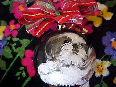 Shih Tzu Puppy Hand Painted Christmas Ornament