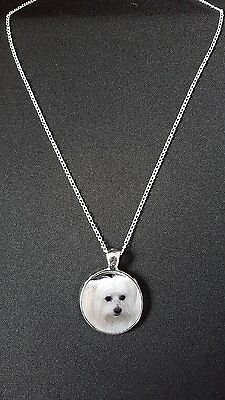 """Maltese Dog Pendant On 18"""" Silver Plated Fine Metal Chain Necklace Gift N526"""