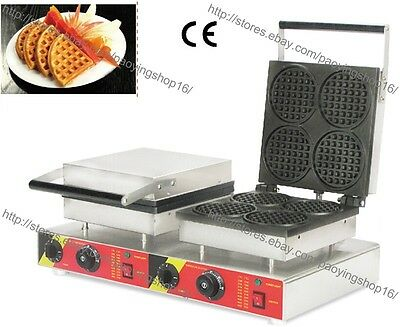 Commercial Nonstick Electric Dual Standard Round Mini Waffle Maker Iron Machine