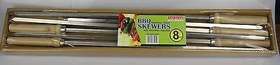 Tri-Star 6pc 54cm Stainless Steel BBQ Skewers 8mm with wooden handles
