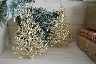 Gisela Graham Pale Gold Glitter Christmas Tree Hanging  Decoration (set of 2)