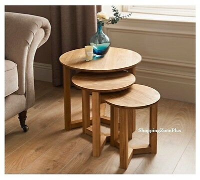 Solid Oak Nest Of Tables 3 Pc Round Elegant Tables Home Office Living Room New