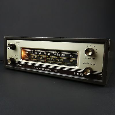 Vintage LINCOLN Model L-124M Tube AM/FM Stereo Tuner Chicago USA, Works Great!