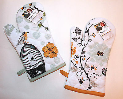 Beautiful Retro Vintage Shabby Chic Cotton Single Oven Glove Love To Bake OFFER!