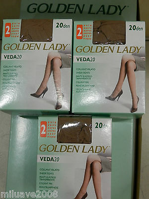6 Pares de medias panty, collant, tights GOLDEN LADY espuma 20den made in Italy