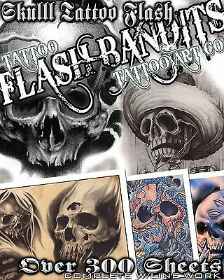 "Tattoo Flash ""skull Flash"" On Cd/dvd 300 Sheets With Line Work!"