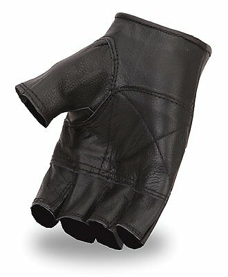 Cow Leather Finger less Exercise Hand Gloves FREE ID Holder Biker,Motorcycle JTC