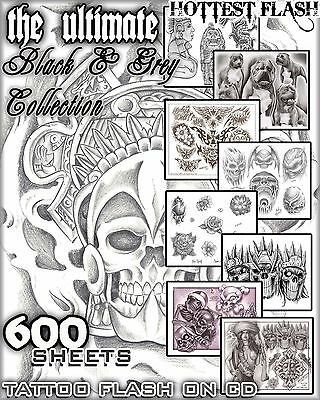 "Tattoo Flash ""black & Grey Flash"" On Cd/dvd 600 Sheets With Line Work!"