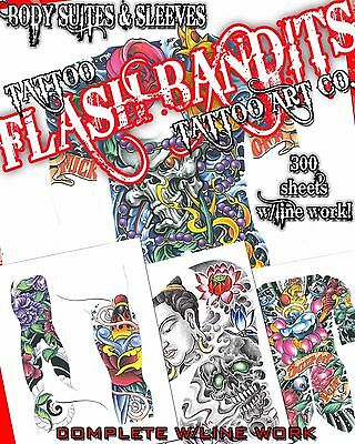 "Tattoo Flash ""body Suits & Sleeves Flash"" On Cd/dvd 300 Sheets With Line Work!"
