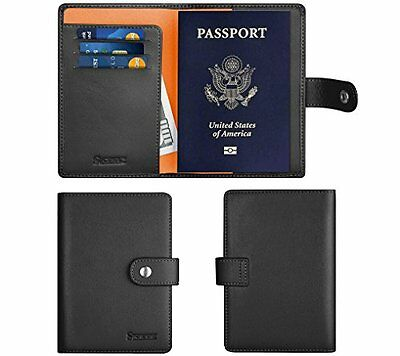 Simpac Leather Passport Holder Wallet Cover Case RFID Blocking 8 Contract Col...
