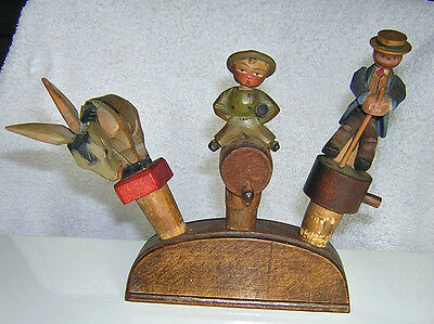 Rare Antique Carved Wood Black Forest Bottle Stoppers Cork Automaton