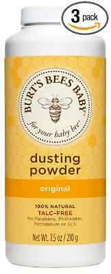 Burts Bees Baby Dusting Powder, 7.5 Ounces (Pack of 3) (Packaging May Vary)