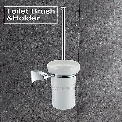 Ceramic Toilet Brush & Holder Cup Clean White Metal Wall Mounted Bathroom Sets