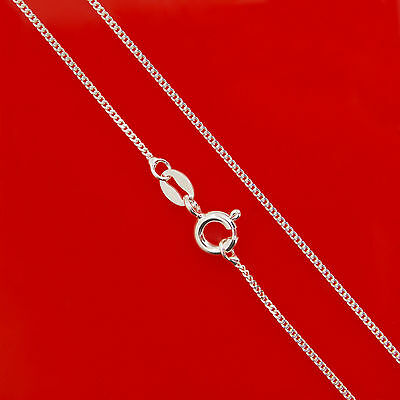 925 Sterling Silver 1.1mm Curb Solid Chain Necklace 14 16 18 20 22 24 26 28 inch