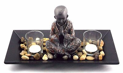 Buddha Candle Holder Glass Bowl Wooden Tray Statue Figurine Ornament Gift Idea