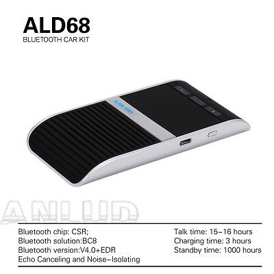Bluetooth Handsfree Speakerphone Wireless Car Kit  Solar Powered w/ Car Charger