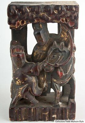 China 19. Jh Holzfragment - Chinese Lacquered & Gilt Wood Carving Cinese Chinois