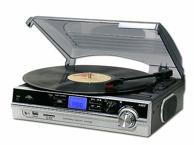 Steepletone ST929R PRO 3 Speed Record Player Turntable MP3 SD Recording Silver