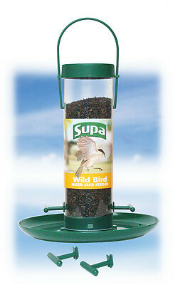 Plastic Niger Seed Wild Bird Feeder 4 Port with Tray & Perches 20cm 8""