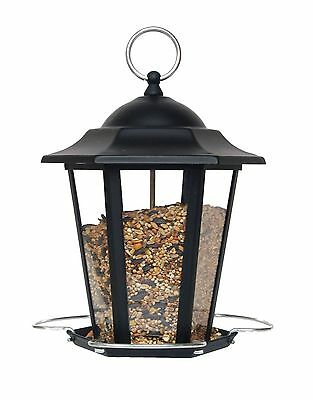 "Black Metal Carriage Lantern Wild Bird Seed Feeder with Chrome Perches 20cm (8"")"