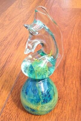 Vintage Mdina Art Glass - Sea Horse Head Paperweight - Signed Base