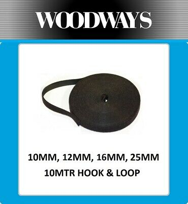 10mm 12mm 20mm Hook and Loop roll 10 metre Double Sided 10m Heavy Duty Black