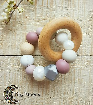 Soft Silicone Teething Toy with Wood Natural Organic Teether for baby