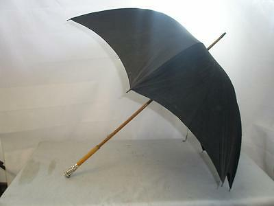*antique Umbrella-Hallmarked Silver Top 1890-Malacca Handle-Black Canopy*