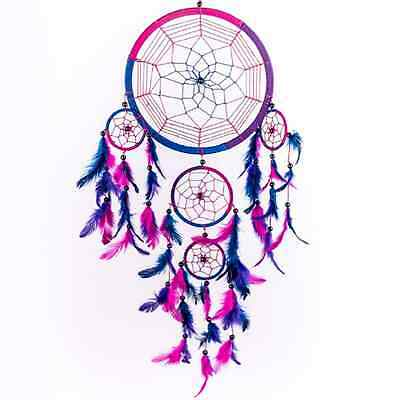 Dream Catcher Handmade Wall Decor Pink Purple Home Interior Art Colorful Indoor
