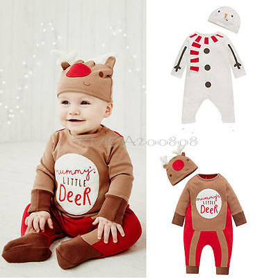 Toddler Baby Boys Grils Romper Jumpsuit Bodysuit Kids Christmas Clothes Outfits