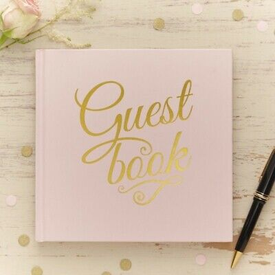 Ginger Ray Pastel Pink and Gold Foiled Wedding Guest Book - Pastel Perfection