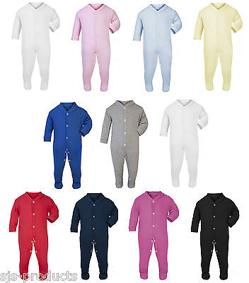 100% Cotton BABY BOY/GIRL Plain Coloured Babygrow Bodysuit Sleepsuit Rompersuit