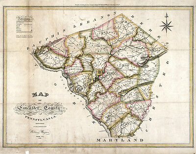 1821 Map of Lancaster County Pa