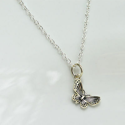 """Solid 925 Sterling Silver Butterfly Pendant Necklace 18"""" 46cm"""