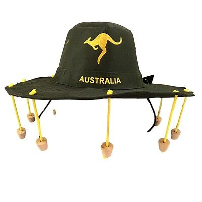 Australian Souvenir Adults Aussie Cork Hat Crocodile Dundee Fancy Dress Green
