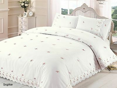 RAPPORT Sophie Cream/Pink or White/Pink Embroidered Lace Trim Duvet Set