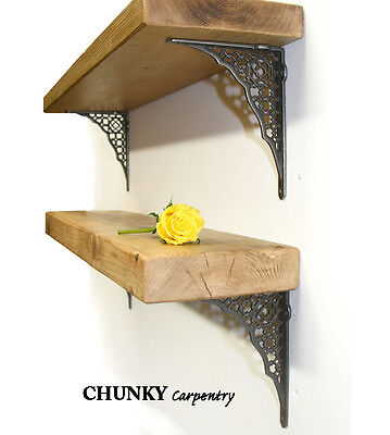 Rustic Wooden Book Shelf 6CM Thickness plus Cast Iron BRACKETS INCLUDED 10% OFF