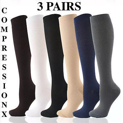 (3 Pairs) Compression X Socks Knee High 20-30mmHg Graduated Mens Womens S-XXXL