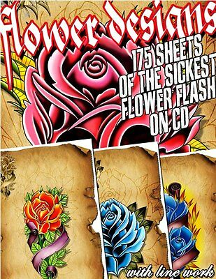 "Tattoo Flash ""flower Flash"" On Cd/dvd 175 Sheets With Line Work!"