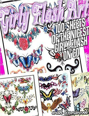 "Tattoo Flash ""girly Flash"" On Cd/dvd 100+ Sheets With Line Work!"