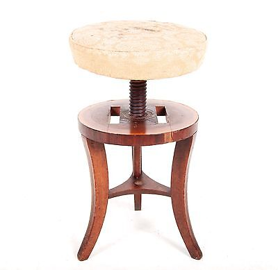 Antique Victorian Piano Stool Adjustable Height Music Dressing Table