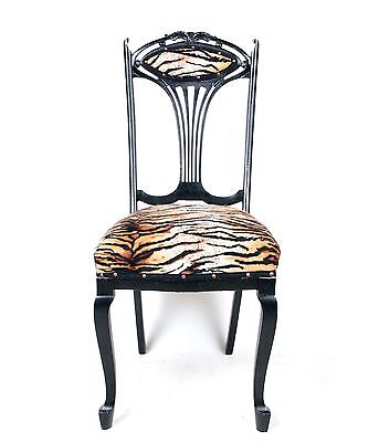 Antique Dining Chair Ebonised Faux Tiger Upholstery Art Nouveau Louis
