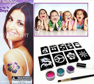 New Body Temporary Tattoos Shimmer Glitter Powders Stencils Brushes Glues Tool