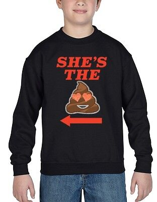 She's The Sht Emoji Youth Crewneck Funny Matching Couples Sweatshirts