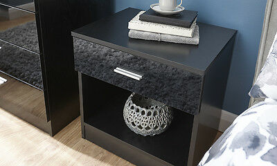 Bedside Cabinet 1 Drawer Black Gloss Bedroom Furniture Chest of Drawers