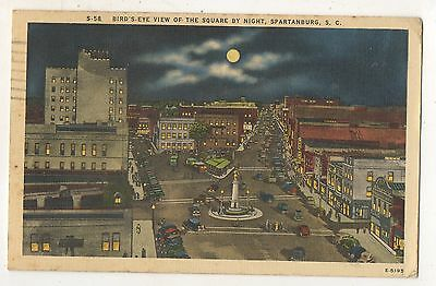 Birdseye View at Night by the Square SPARTANBURG SC Vintage Postcard