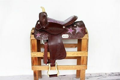 14 inch seat purple gator print leather western saddle