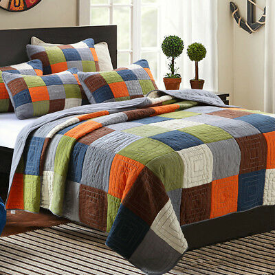 100% Cotton Coverlet / Bedspread Set Queen King Size Bed 230x250CM Patchwork