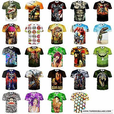 Mens Womens 3D Fashion Funny Printed Casual Short Sleeve T Shirts Tee Tops Uivf