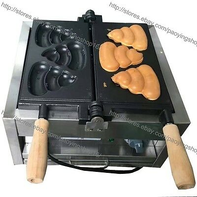 Commercial Nonstick Electric Korean Poop Bread Waffle Maker Iron Machine Baker